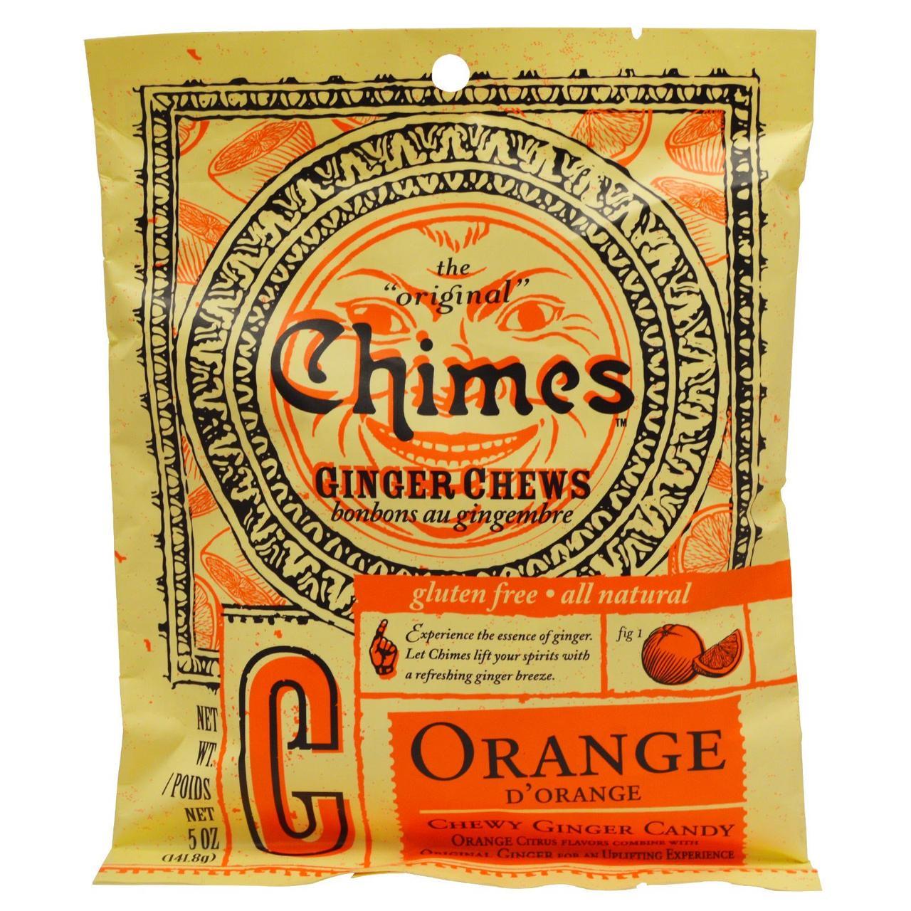 Имбирные жевательные конфеты с апельсином, Ginger Chews, Chimes, 141,8 г
