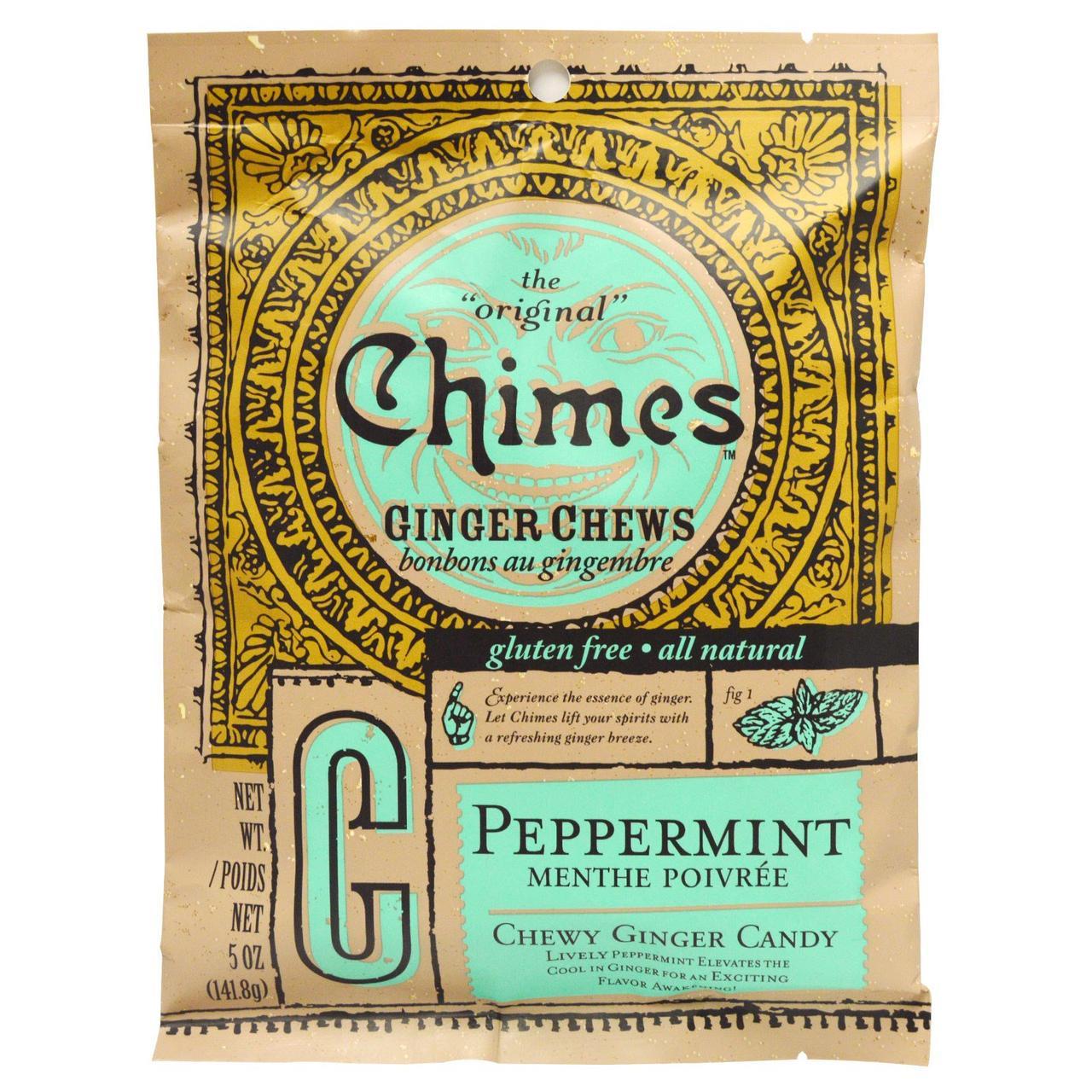 Імбирні жувальні цукерки з м'ятою, Ginger Chews, Chimes, 141,8 г
