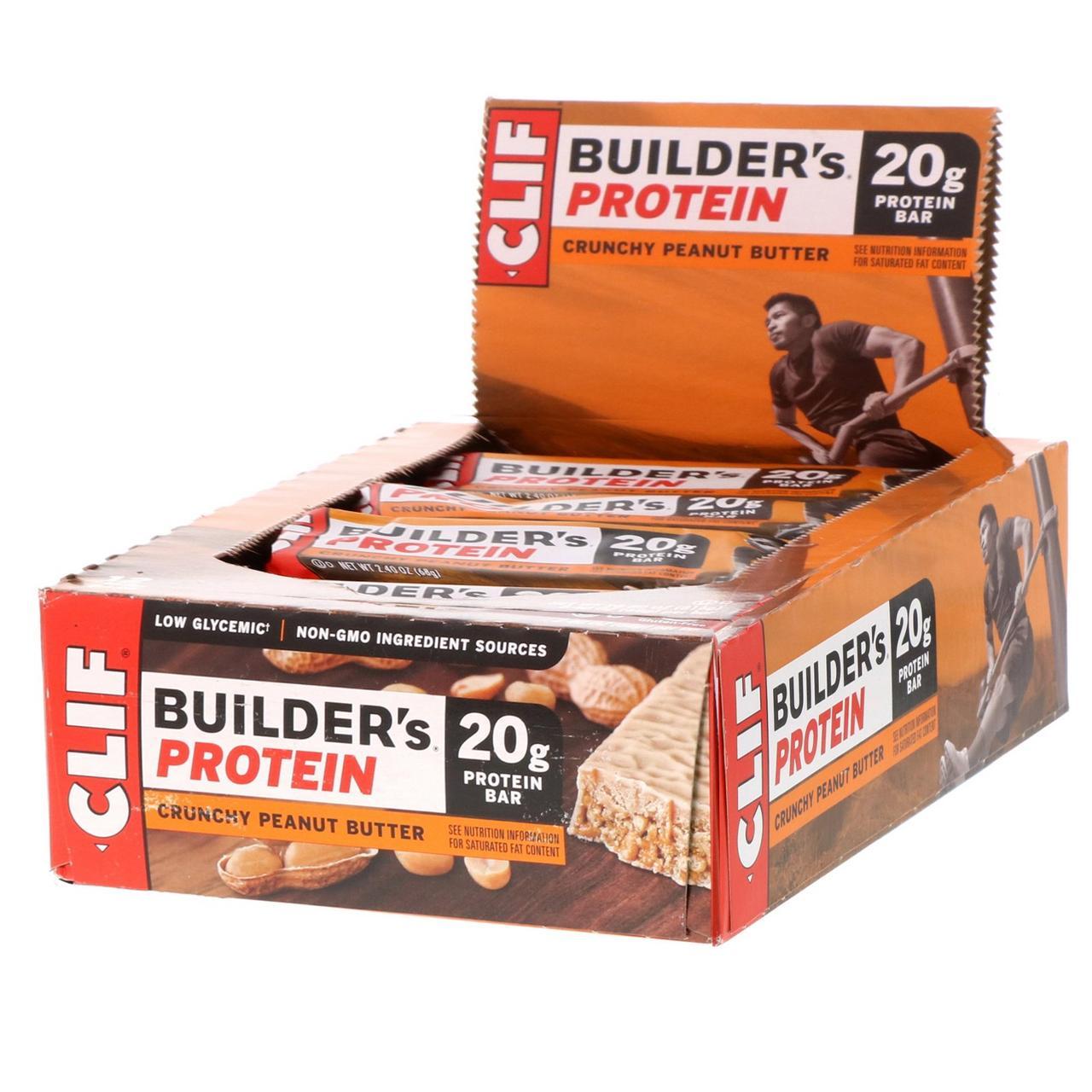Clif Bar, Протеїновий батончик builder's, 20 р, хрустке арахісове масло, 12 баточников, 68 м (2,4 унції) кожен