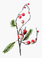 Рождественская искусственная ветка Coincasa 6х30см Зеленый, Черный, Красный Поврежден товар - ( 18041-02 )
