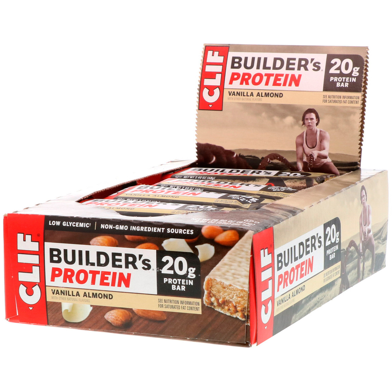 Clif Bar, 20 г протеиновый батончик для бодибилдеров, с ванилью и миндалем, 12 плиток по 2.4 унций (68 г)