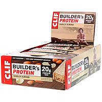 Clif Bar, 20 г протеиновый батончик для бодибилдеров, с ванилью и миндалем, 12 плиток по 2.4 унций (68 г), фото 1