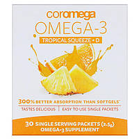 Coromega, Omega3+D Squeeze, Tropical Orange, 30 Squeeze Packets, (2.5 g), фото 1