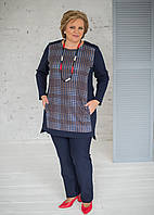 Штани темно-синього кольору з джерсі суперстрейч на широкій резинці 70