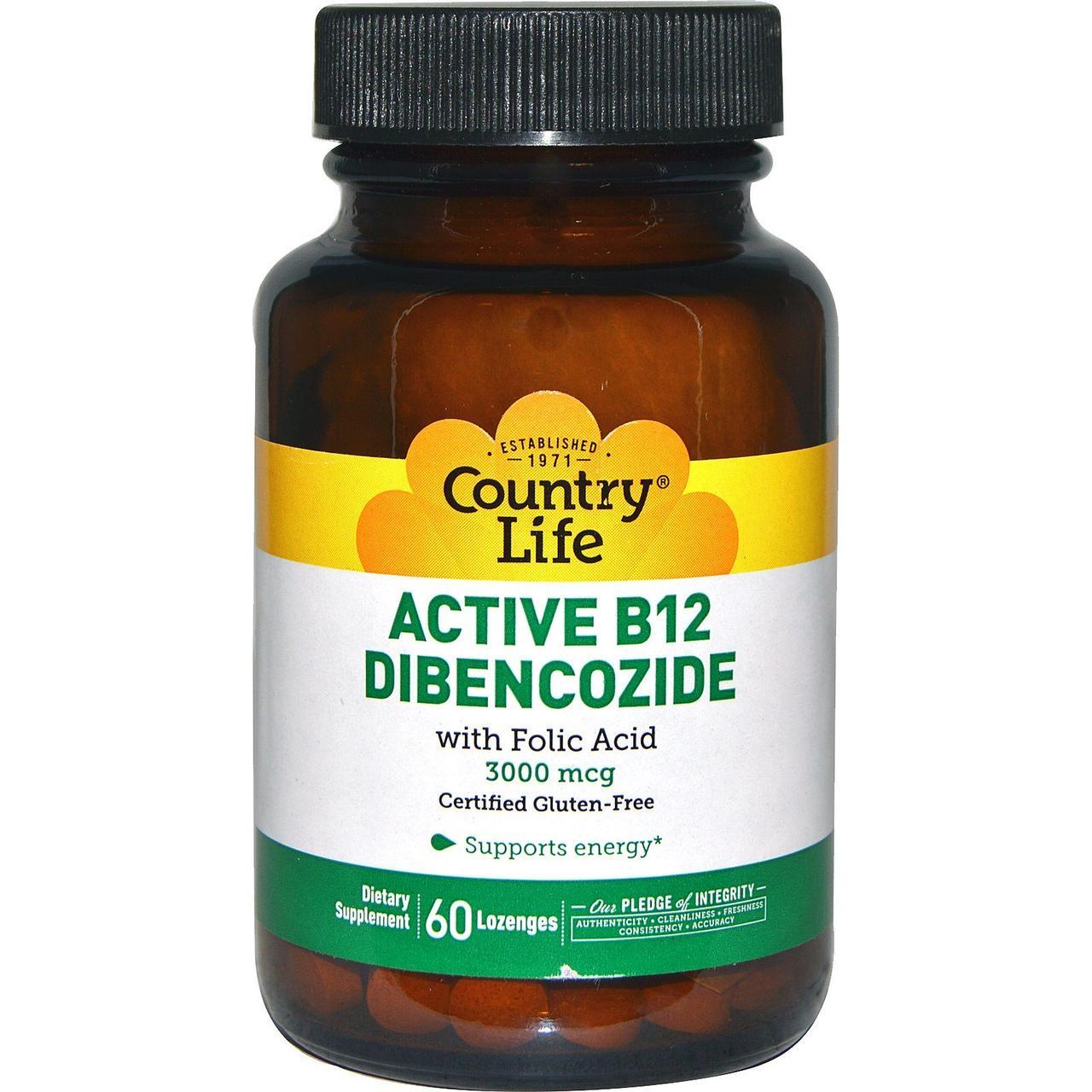 В-12 і фолієва кислота, Active B12 Dibencozide, Country Life, 3000 мкг, 60 лід.