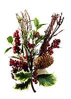 Рождественская искусственная ветка Coincasa 30х20см Зеленый, Коричневый, Красный Поврежден товар - ( 18320-02 )