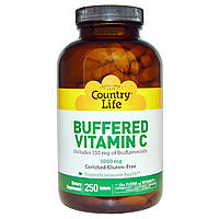 Буферизированный витамин С, Buffered Vitamin C, Country Life, 1000 мг, 250 таб.