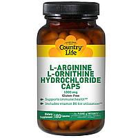 L-аргинин + L- орнитин, Country Life, 1000 мг, 180 капсул