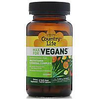 Country Life, Поддержка для вегетарианцев, веганские мультивитамины и минералы, 120 растительных капсул