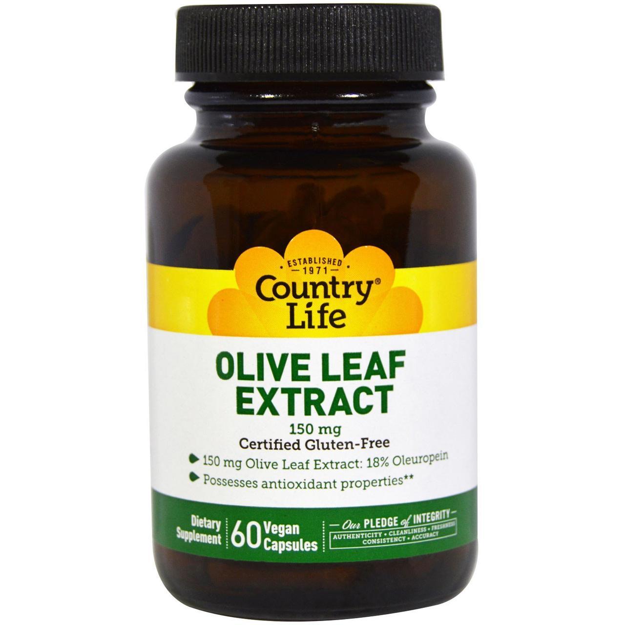 Экстракт листьев оливы, Olive Leaf Extract, Country Life, 150 мг, 60 кап.