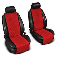 Накидки на сиденье Эко-замша узкие (1+1) без лого, цвет красный Код: 1476407