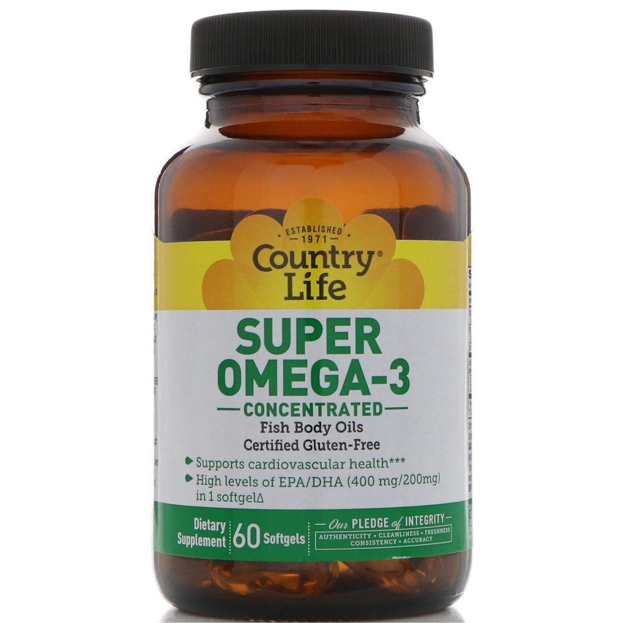 Омега-3 (концентрат), Super Omega-3, Country Life, 60 кап.