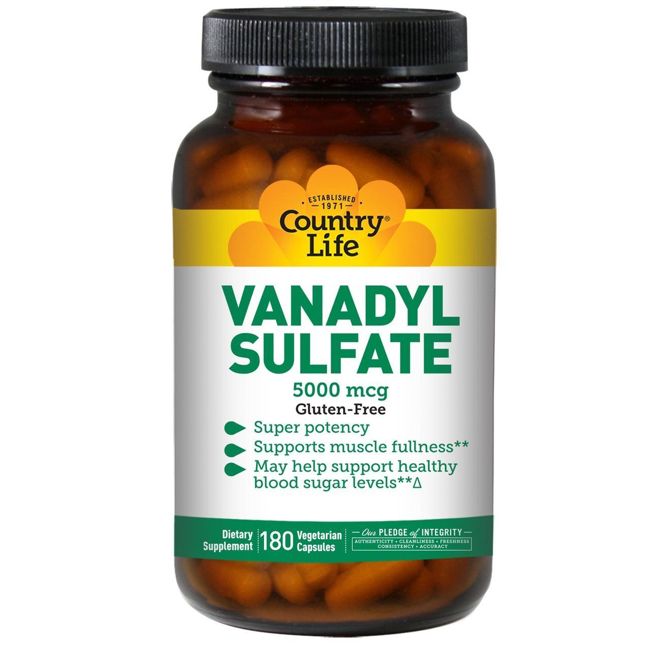 Ванадий Сульфат, Country Life, Vanadyl Sulfate, 5000 мкг, 180 капсул