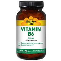 Витамин В6 (пиридоксин), Vitamin B-6, Country Life, 50 мг, 100 табл.