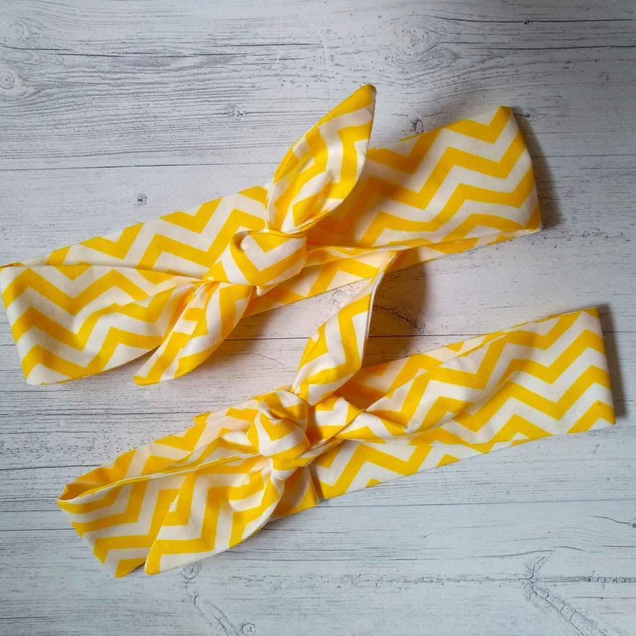 Набор повязок с принтами мама+дочь зигзаг желтый