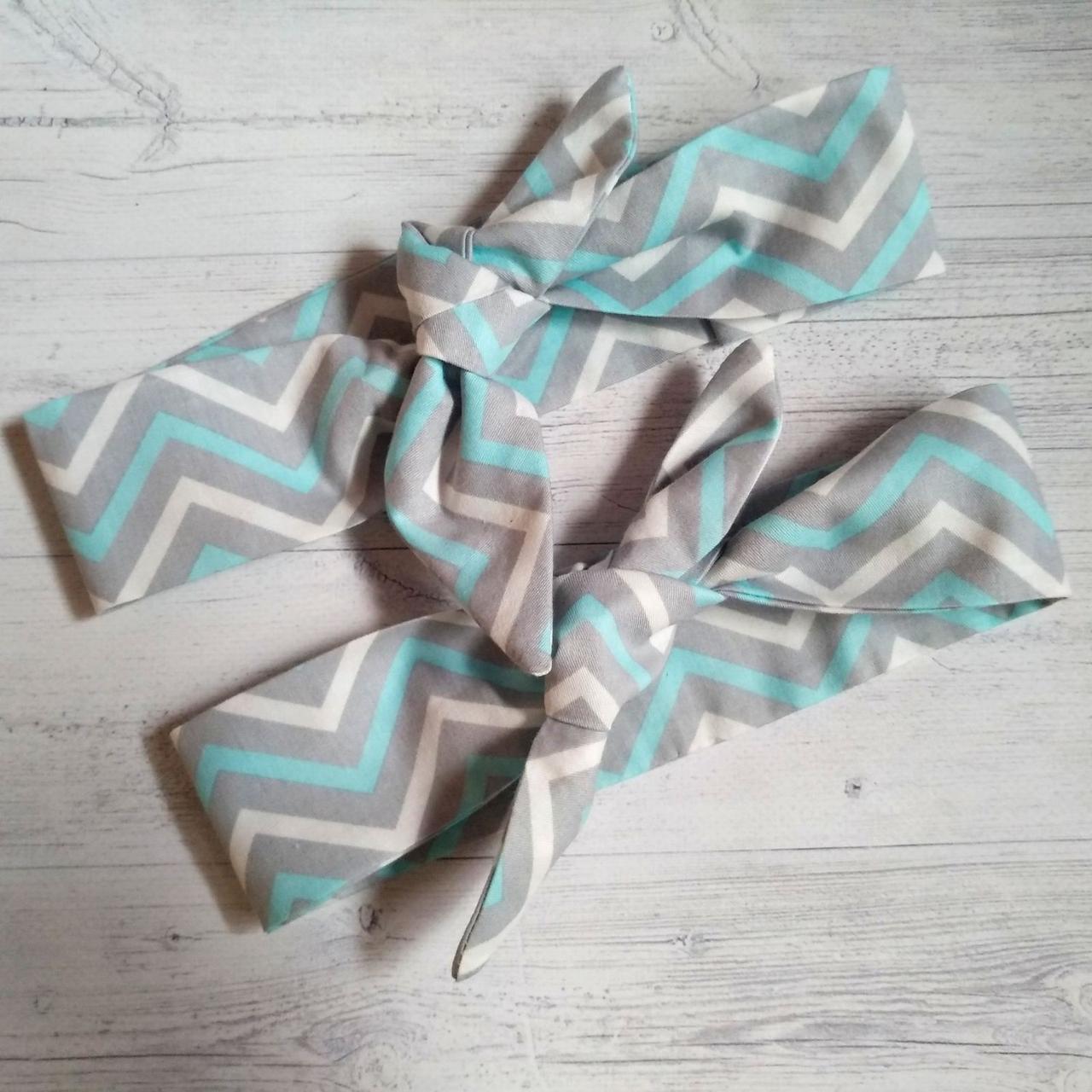 Набор повязок с принтами мама+дочь зигзаг серо-голубой