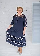 Нарядное платьетемно-синего цвета из масла с фатином и подъюбником, фото 1