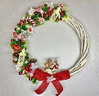 Новогодний венок из лозы, Рождественский венок в готовом варианте, венок с мышкой 2020