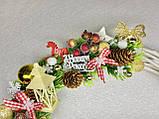 Різдвяний вінок на двері, Готовий варіант новорічних вінків, новорічний вінок з лози, фото 4