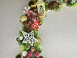 Різдвяний вінок на двері, Готовий варіант новорічних вінків, новорічний вінок з лози, фото 3