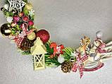 Різдвяний вінок на двері, Готовий варіант новорічних вінків, новорічний вінок з лози, фото 2