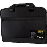 Портфель с регистрами, 12 отделений , B4, на молнии, комбинированний , 5076 Scholz  черный цвет