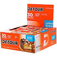 Detour, Батончики из сывороточного белка со вкусом карамели и арахиса, 12 батончиков по 3 унции (85 г) каждый, фото 1