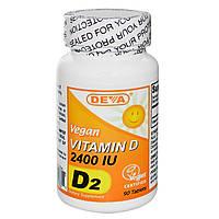Deva, Витамин D, D2, веганский, 2400 МЕ, 90 таблеток