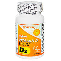 Deva, Витамин D, веганский, 800 МЕ, 90 таблеток