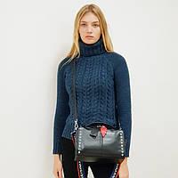 Женская сумка кожаная 8960 маленькая черная, фото 1