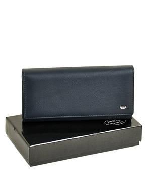 Вместительный женский кошелек темно-синего цвета на кнопке кожа DR. BOND 18,5*9*3,5 (W501 dark-blue), фото 2