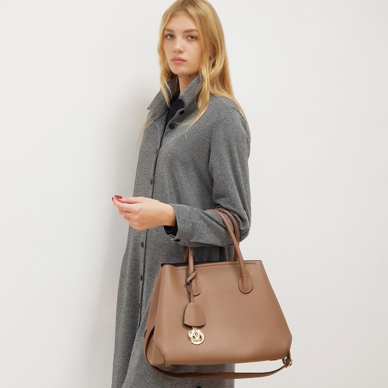 Женская сумочка 2 в 1 коричневая большая повседневная