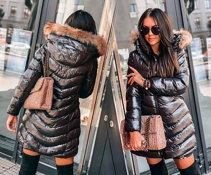 """Зимнее женское пальто на синтепоне 8022 """"Капюшон Мех"""" в расцветках"""