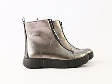 Зимние кожаные ботиночки для девочки, цвет никель