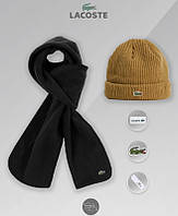 Набор мужской из шапки и шарфа лакост, Lacoste, реплика, фото 1