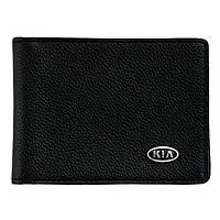 Кожаный бумажник двойного сложения с эмблемой KIA, фото 1