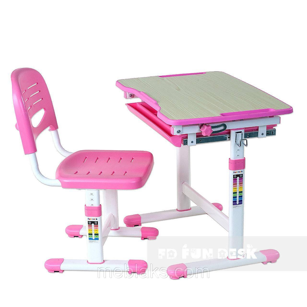Комплект парта и стул-трансформеры FunDesk Piccolino Pink