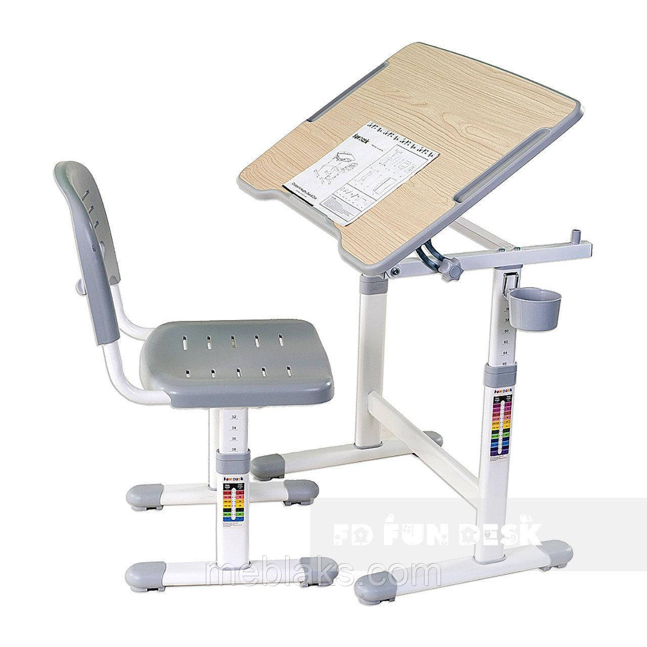 Растущая парта трансформер FunDesk Piccolino II Grey