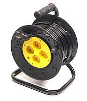 Удлинитель на катушке PowerPlant JY-2002/20 (PPRA10M200S4) 4 розетки, 20 м, черно-желтый