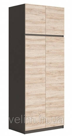 Шкаф распашной Gerbor Моден SZF2D 90х230,5х58 вольфрам серый/дуб санремо, фото 1
