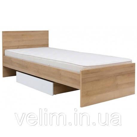 Кровать односпальная BRW Бонито LOZ/90+ламель+ящик 90х200 дуб ривьера/белый, фото 1