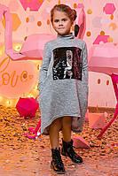 """Стильное свободное детское платье 2-115 """"Меланж Гольф Знаки Пайетка"""""""