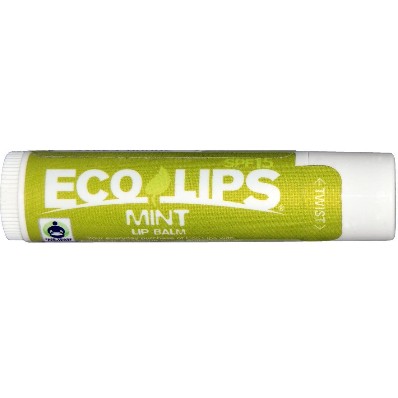 Eco Lips Inc., Бальзам для губ, SPF 15, Мята, 0.15 унций (4.25 г)