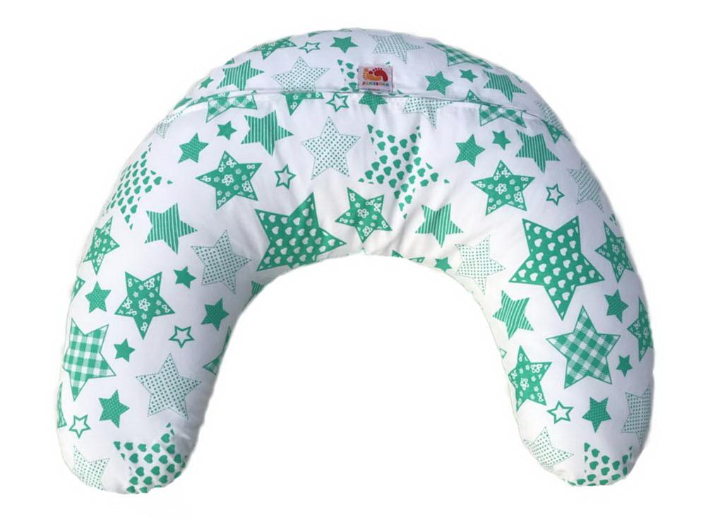 Подушка для кормления младенцевТМ Лежебока Шарики пенополистирола Зелёные звёзды на белом