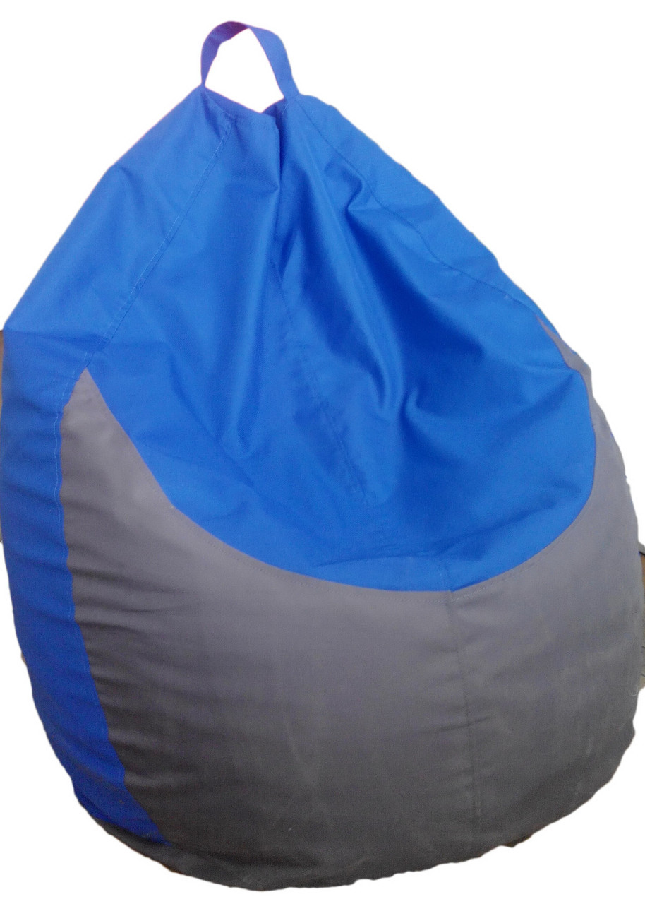 Бескаркасное кресло Груша ТМ Лежебока M Синее с серым