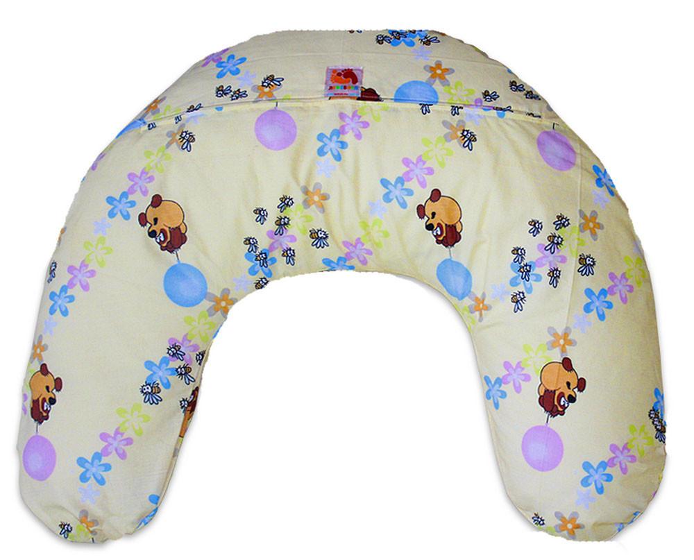 Подушка для кормления младенцевТМ Лежебока Шарики пенополистирола Винни на светлом