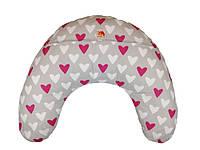 Подушка для кормления младенцевТМ Лежебока Шарики пенополистирола Синие сердечки на сером