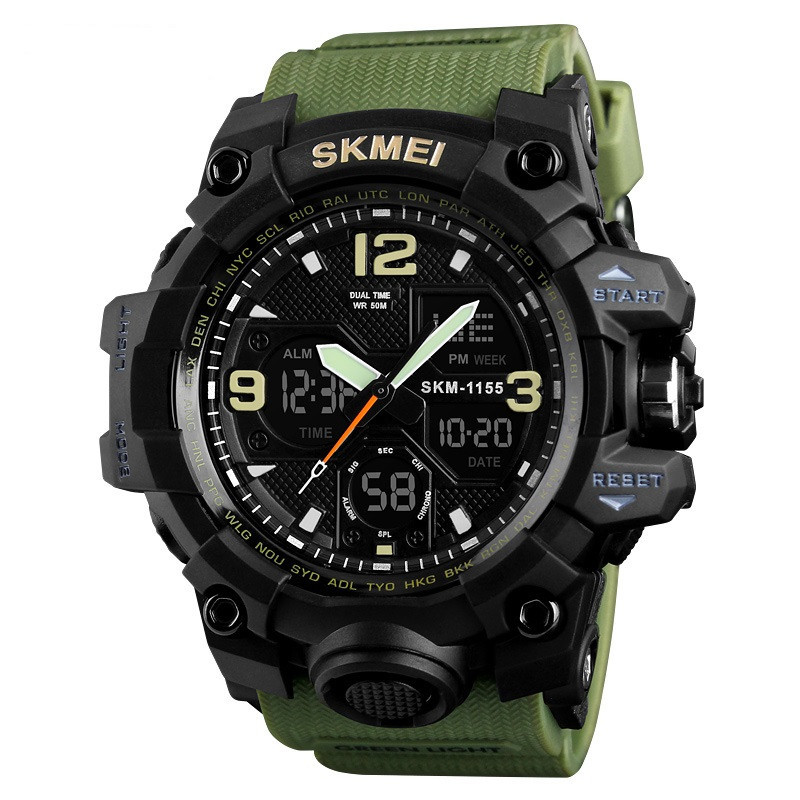 Skmei 1155 B HAMLET зеленые спортивные часы