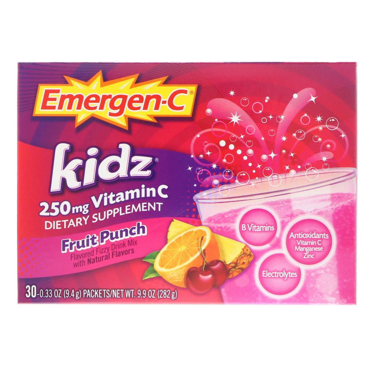 Вітамін С (фруктовий пунш для дітей), Emergen-C Kidz, Alacer, 276 г