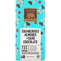 Черный шоколад с клюквой и миндалем, Dark Chocolate, Endangered Species Chocolate, 85 г